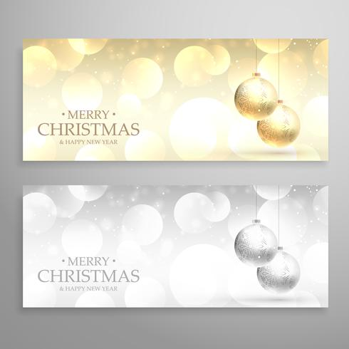 christmas festival banners or headers set in golden and silver s