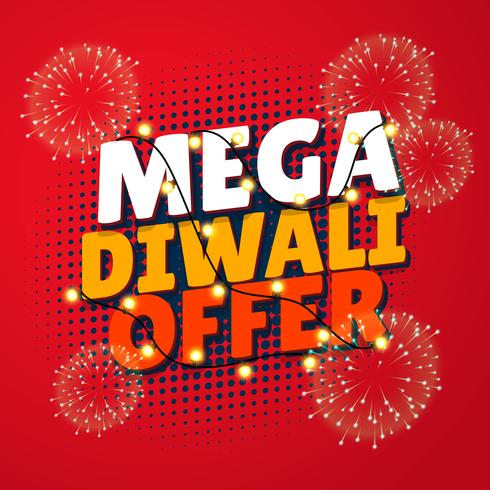 mega diwali sale template with fireworks and hanging lamps