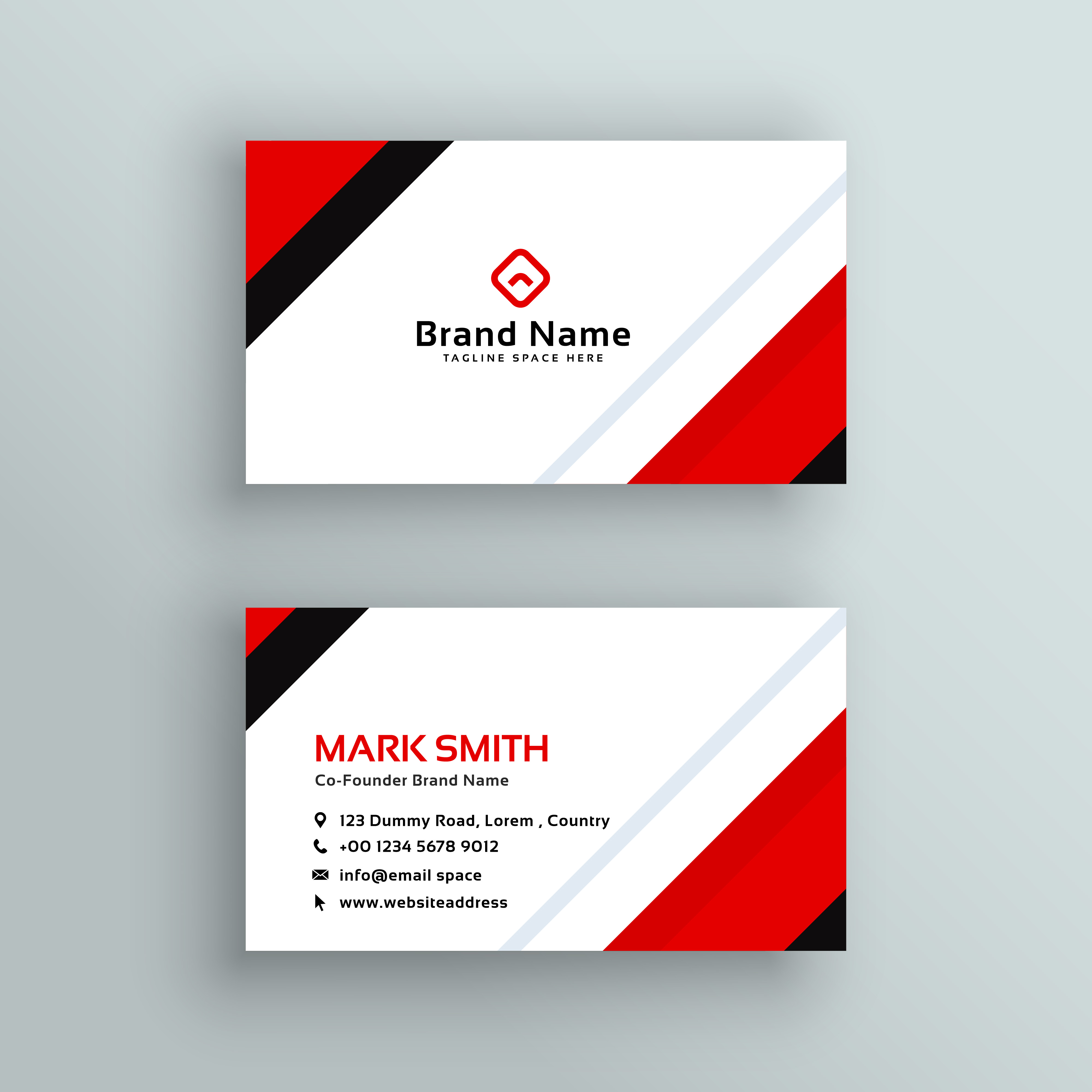 Modern professional red business card design download for Business card designer pro