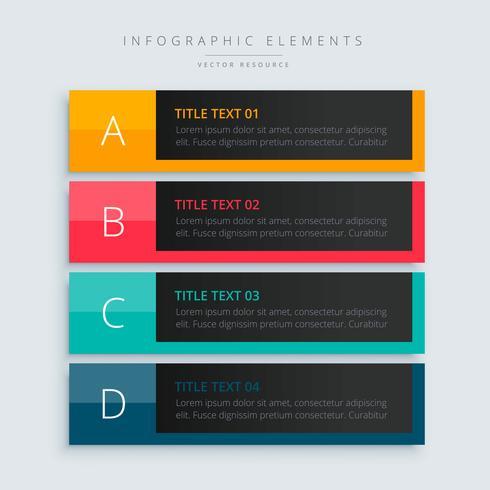 bannière de modèle de présentation infographique dans le thème sombre