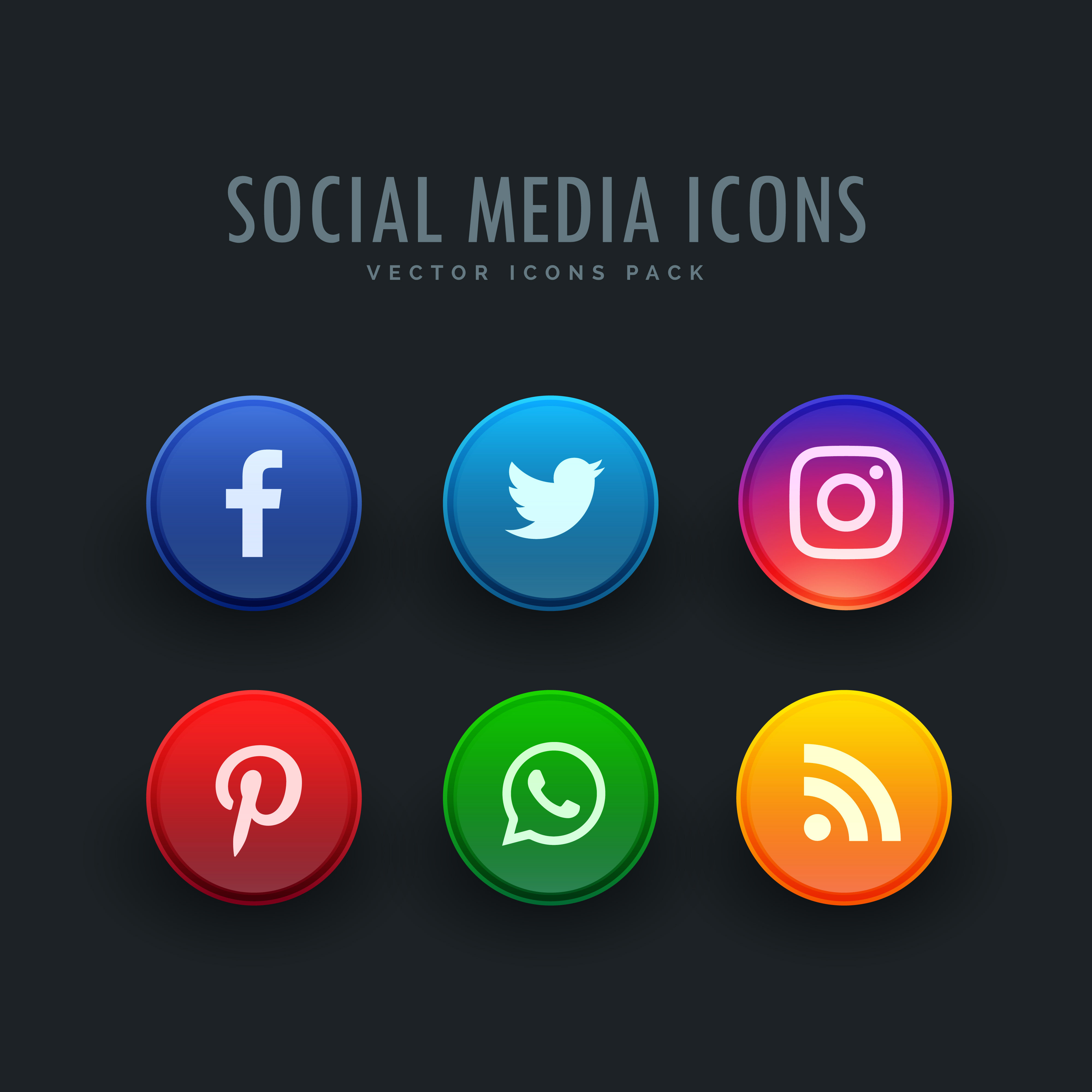 social media icons pack in button style