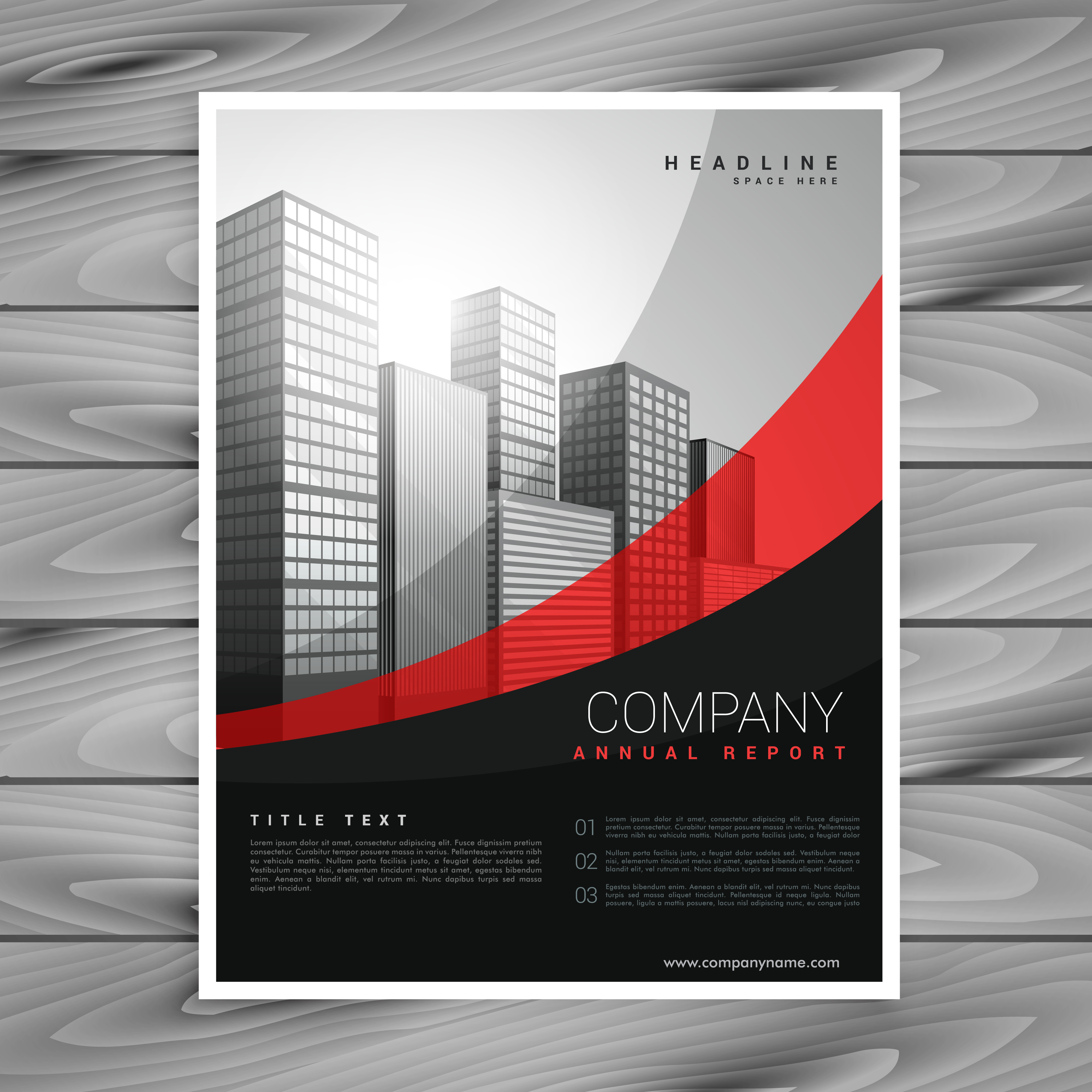 wavy red and black company brochure design