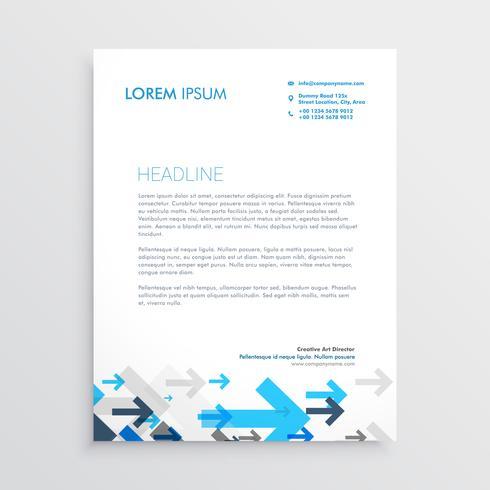 modèle de conception de papier à en-tête avec des flèches bleues dans le style de l'entreprise