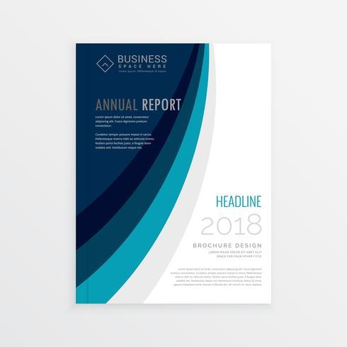 annual report cover template brochure design with blue lines wav