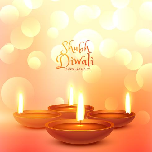 beautiful diwali festival greeting with light bokeh effect and