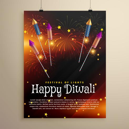 diwali festival flyer template with flying rocket crackers and f