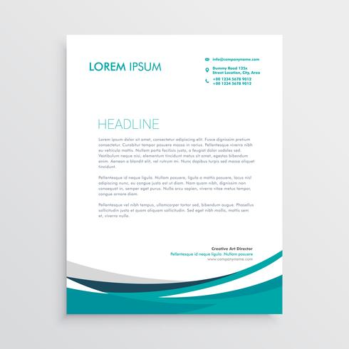 creative blue wave business letterhead design