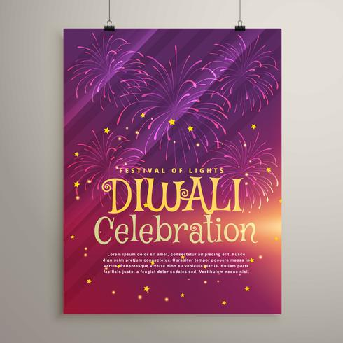 amazing purple background with fireworks for diwali festival