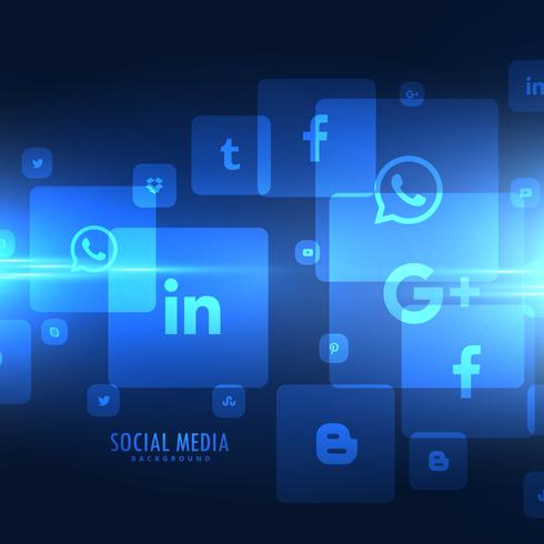 techno style social media icons background