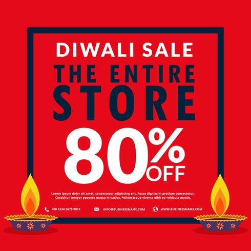 diwali season sale banner discount and deals with two diya
