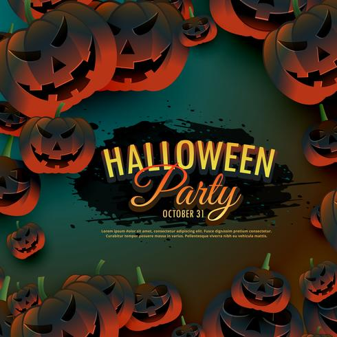 halloween party background with scary pumpkins border