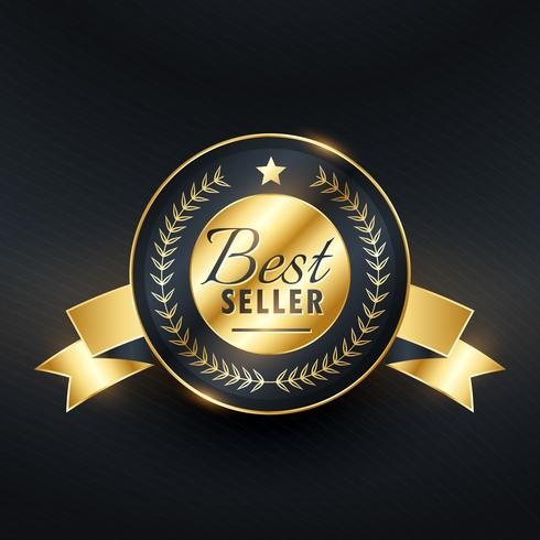 best seller golden label badge vector design