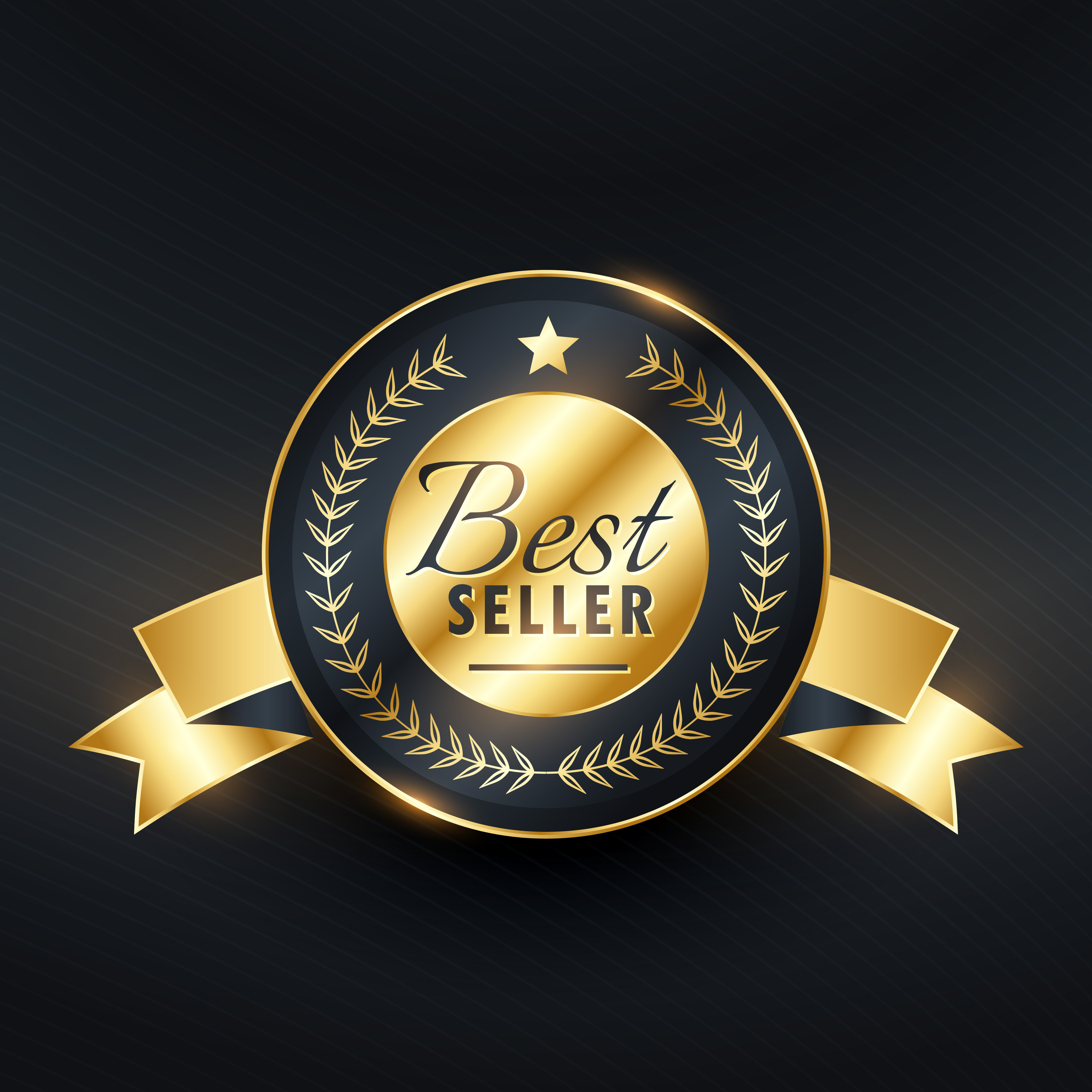 Best Seller Golden Label Badge Vector Design