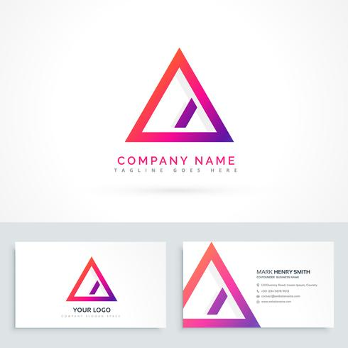 abstract triangle logo with diagonal line and business cards