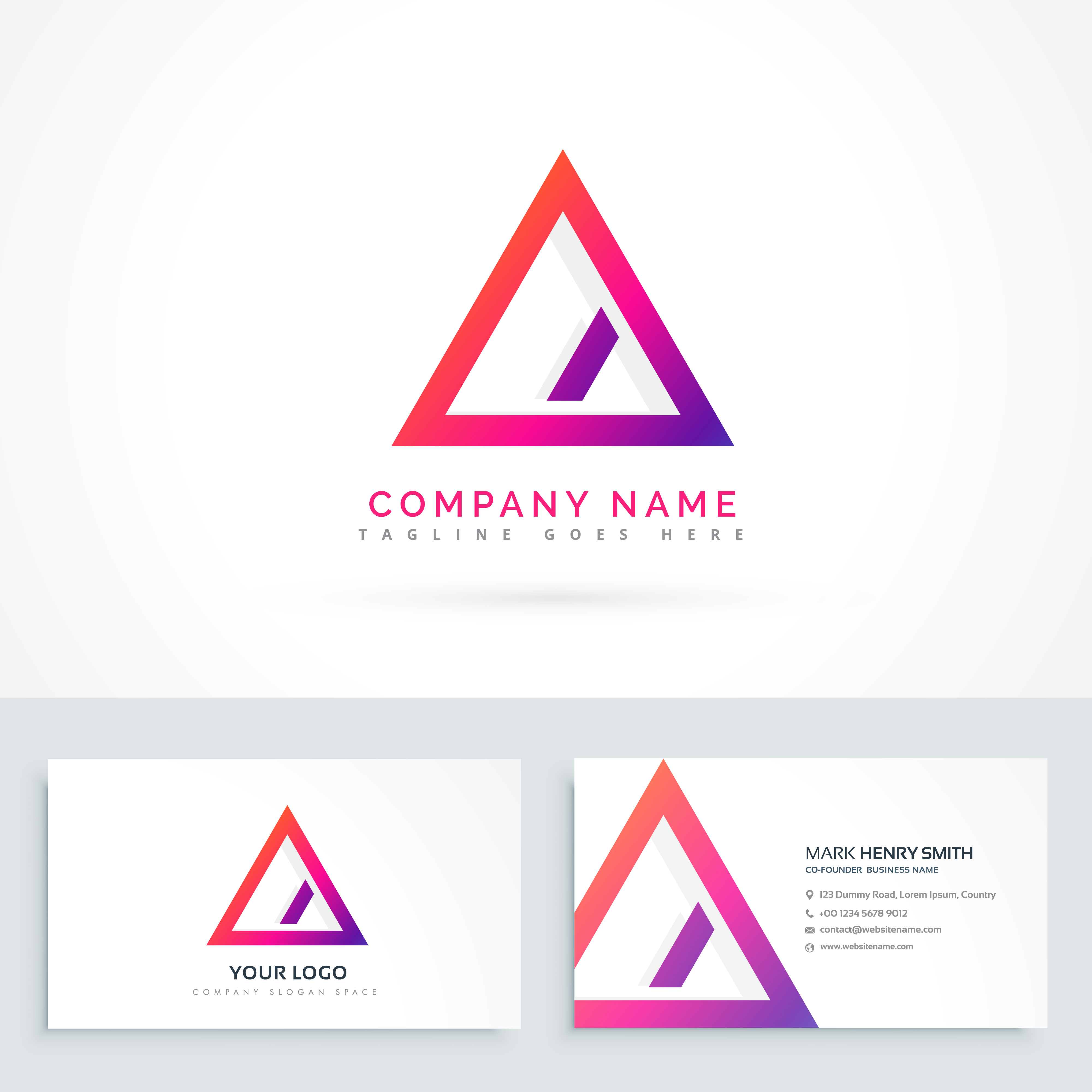 abstract triangle logo with diagonal line and business ...
