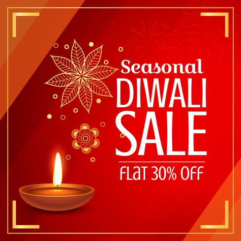 beautiful diwali sale offer and discount with diya and paisley d