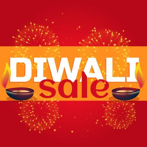 diwali sale celebration background with diya and fireworks