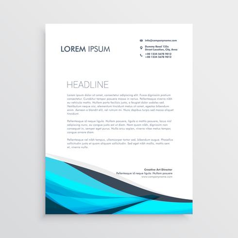 blue wavy letterhead design template