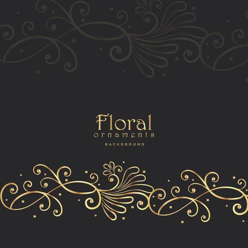 elegante dourado floral em fundo escuro
