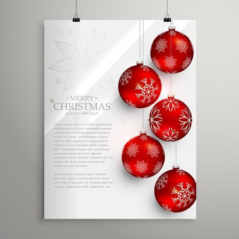 stylish christmas festival greeting card template with red balls