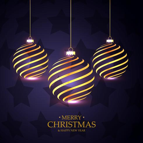 hanging golden christmas balls on purple background