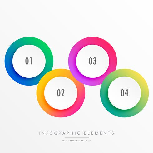 colorful four steps circular infograph
