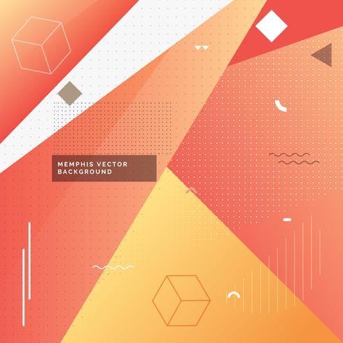 gelber und roter Memphis-Hintergrund mit geometrischen Formen