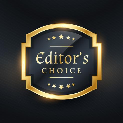 design de rótulo dourado de escolha do editor