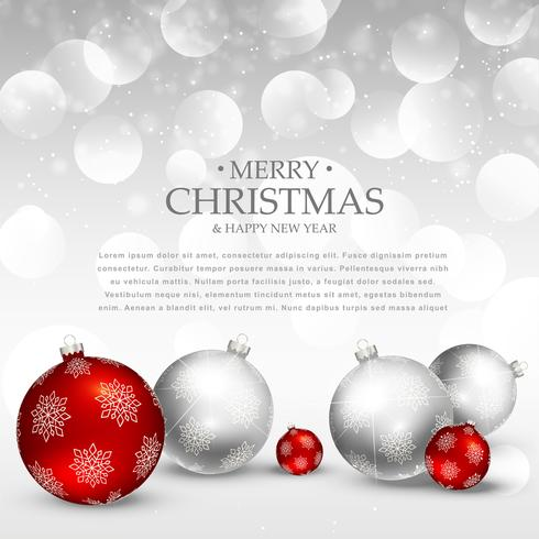 amazing christmas holiday greeting with realistic red and silver