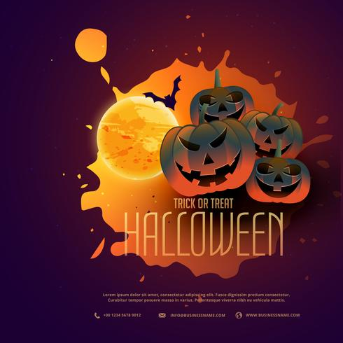 happy halloween pumpkins poster design with moon
