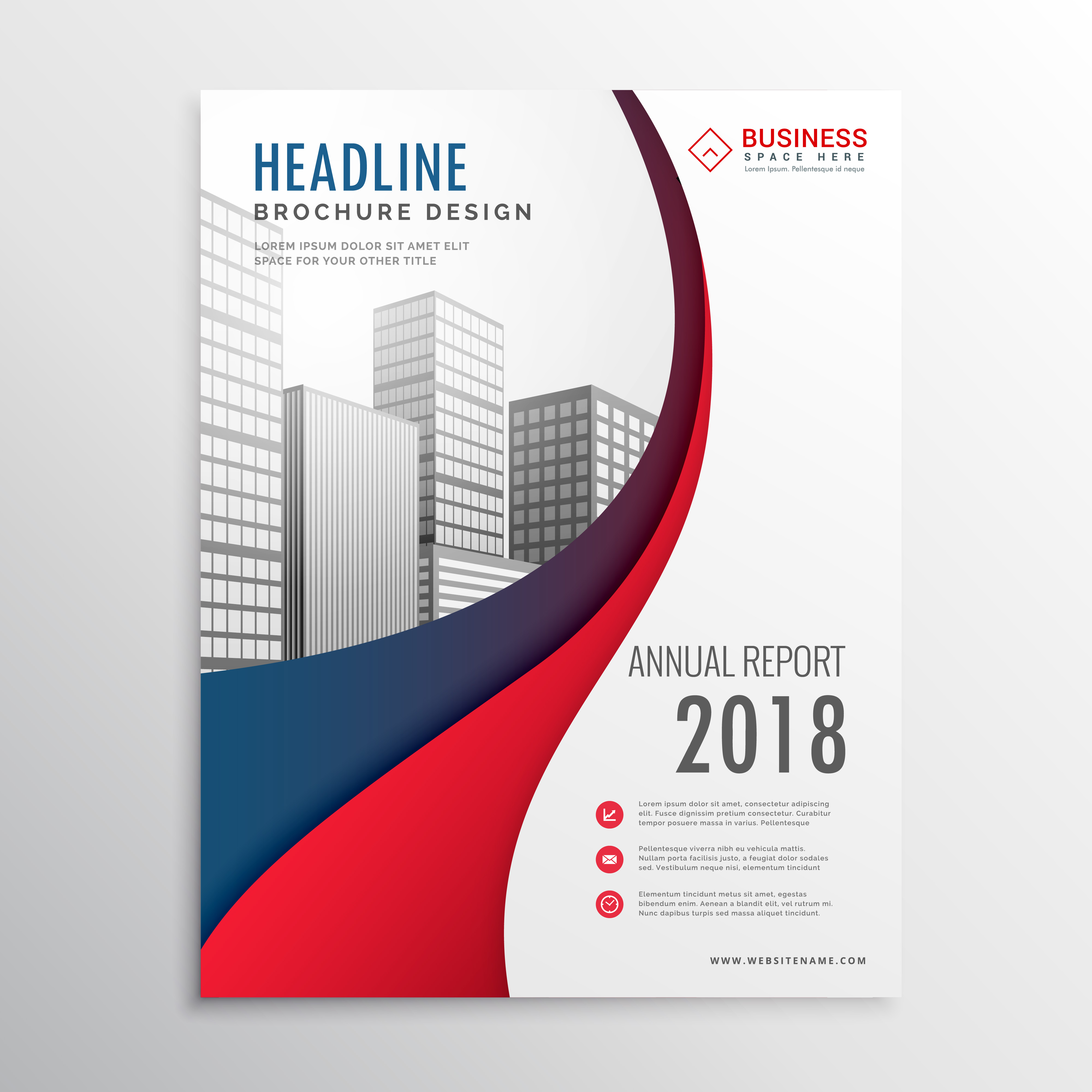 Business Brochure Cover Design Business Brochure: Modern Red And Blue Wave Business Brochure Template Design