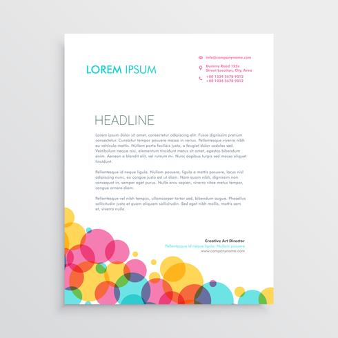 creative letterhead design template with colorful circles