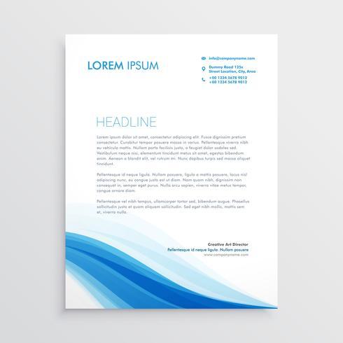 creative blue wavy shape letterhead design