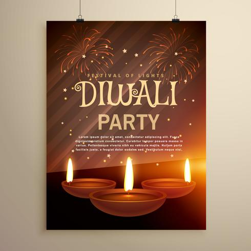 aesome diwali festival celebration template with three diya on f