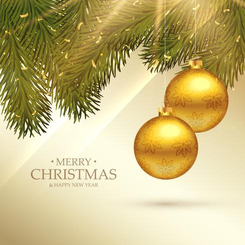 beautiful merry christmas festival greeting card with realistic
