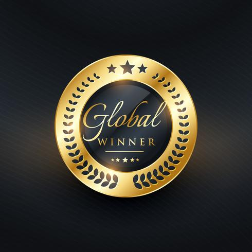 design de rótulo dourado de vencedor global