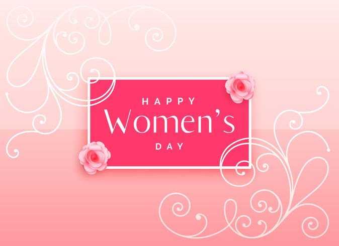 beautiful happy women's day design with floral decoration