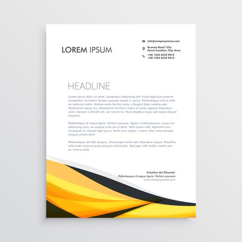 yellow and black abstract wave letterhead template