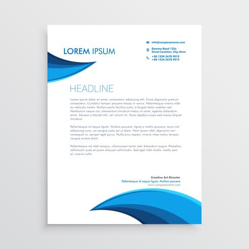 modern letterhead design with blue curve shape