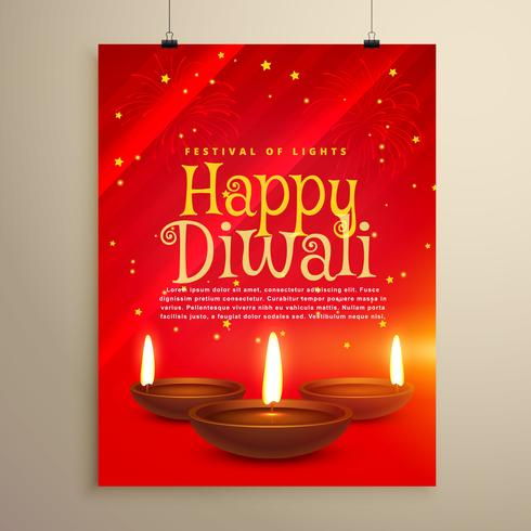 beautiful red flyer for diwali celebration. Diwali greeting temp