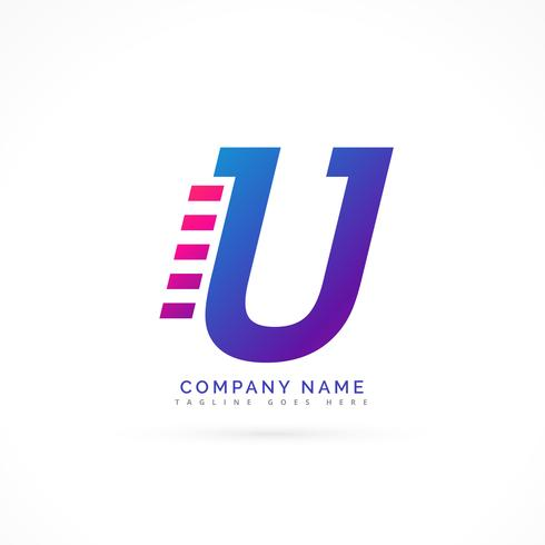 speeding letter U logo design