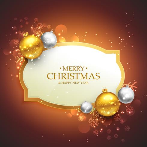 beautiful merry christmas background with golden and silver chri
