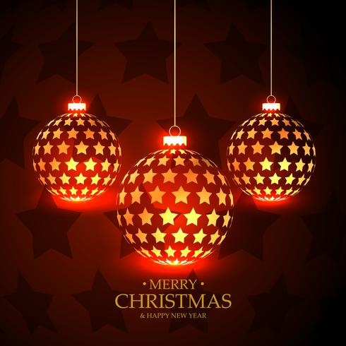 beautiful red background with hanging christmas balls made with