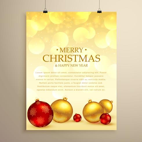 merry christmas greeting card flyer template with realistic xmas