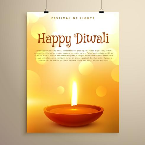 happy diwali festival greeting with realistic diya and bokeh eff