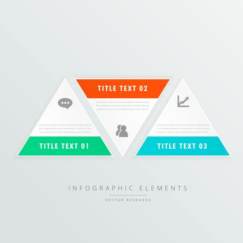 three triangle shapes infographic template with business icons