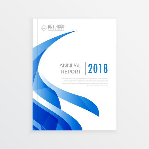 company business brochure template design with blue wave, annual