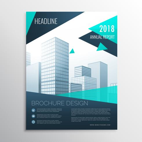 stylish blue business brochure design with geometric shapes in s