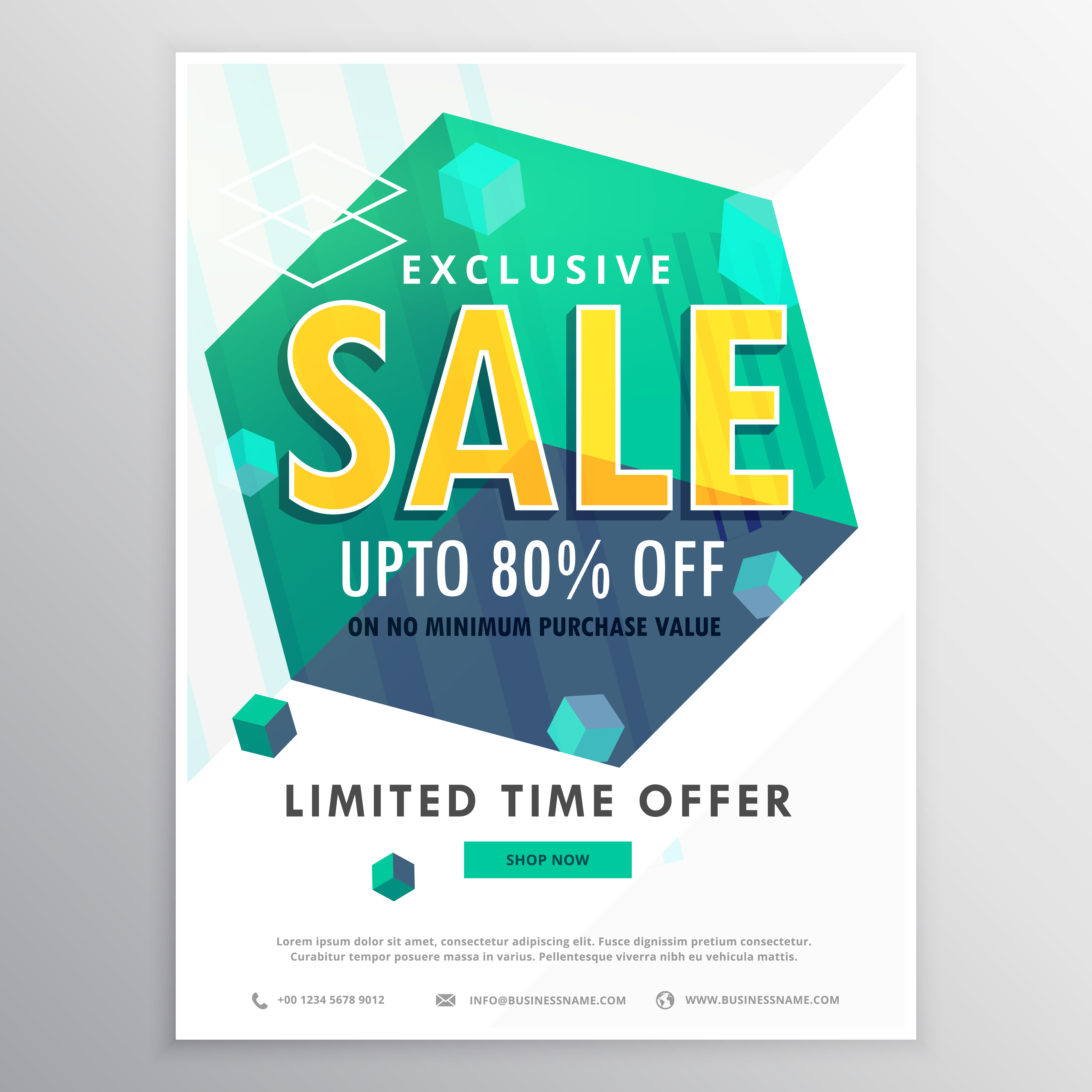 Creative Sale Poster Banner Flyer Design With 3d Cubes
