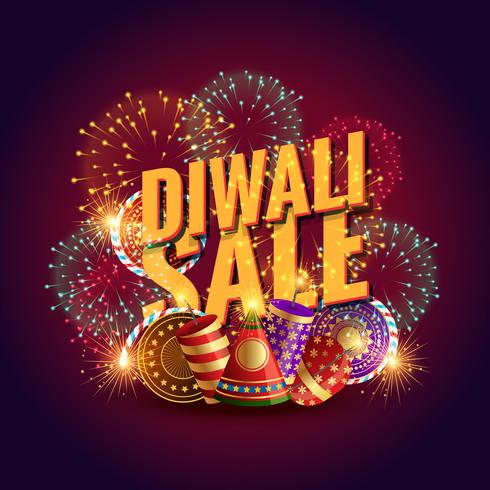 amazing diwali sale voucher with festival crackers and fireworks